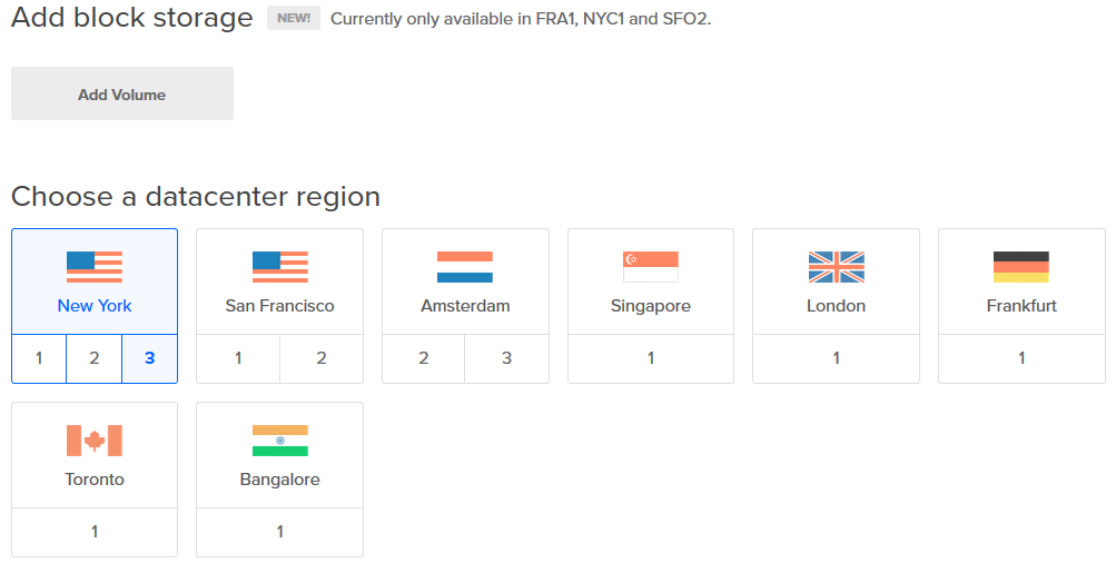 DigitalOcean choose region