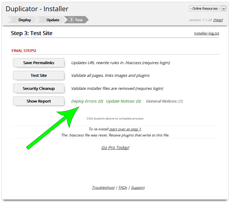Duplicator installer-step3-final-steps