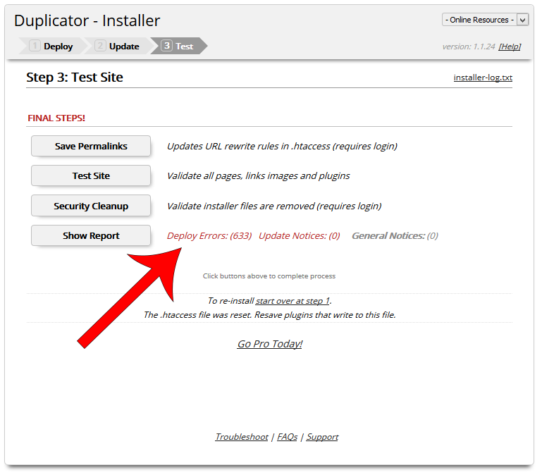 Duplicator installer-step3-deploy-errors