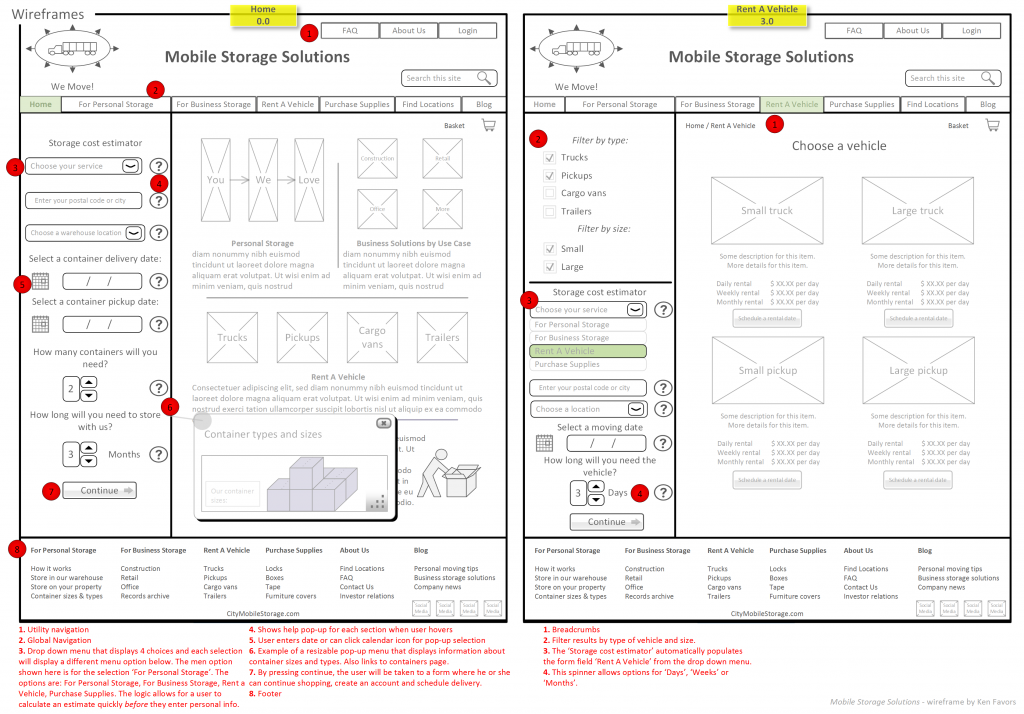 Wireframes 1-2 Logistics & Mobile Storage Solutions