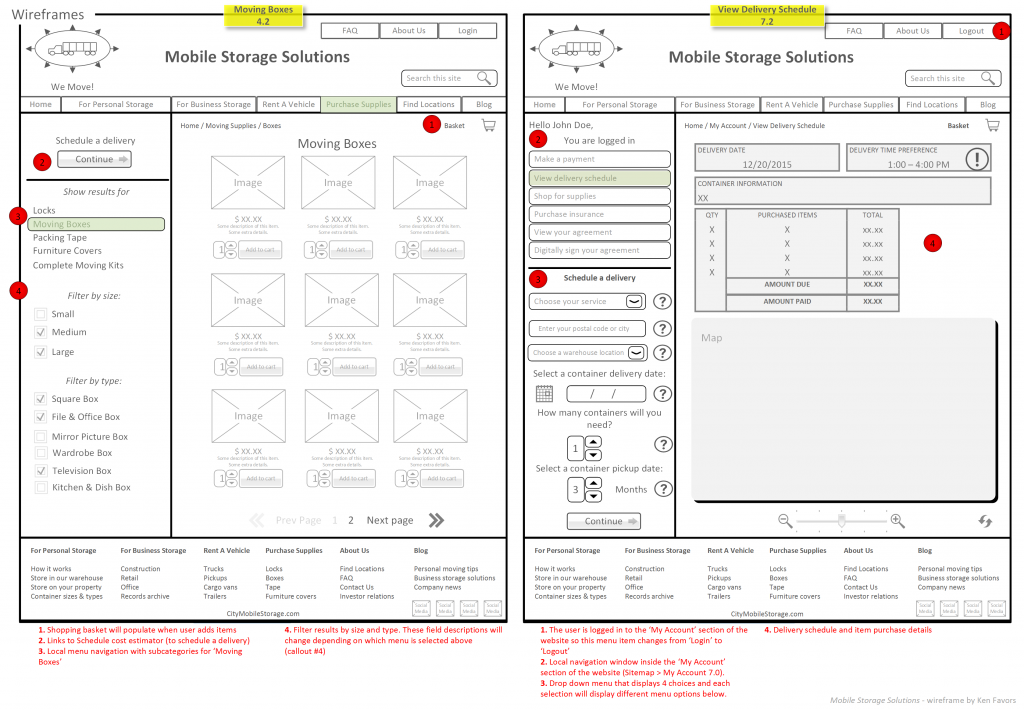 Wireframes 3-4 Logistics & Mobile Storage Solutions
